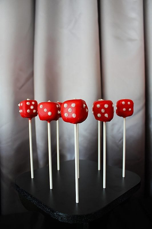 He's Aged to Perfection | James Bond Birthday Party - Dice Cake Pops