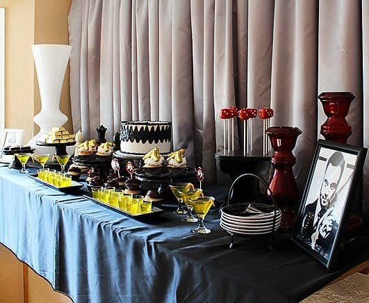 He's Aged to Perfection | James Bond Birthday Party Tables