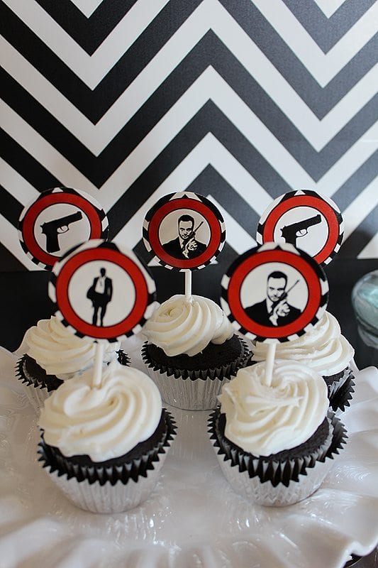 He's Aged to Perfection | James Bond Birthday Party - Cupcake Toppers