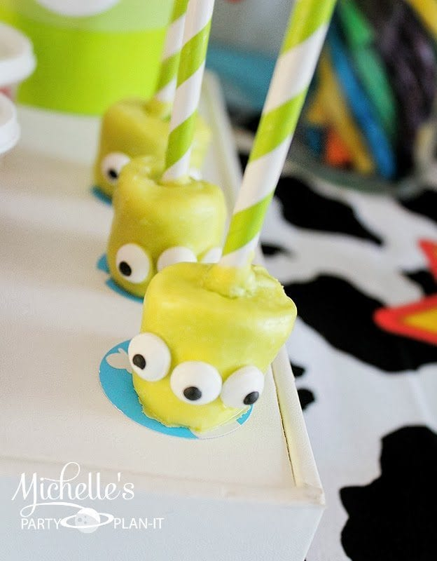 Toy Story Party Ideas - Alien Marshmallows