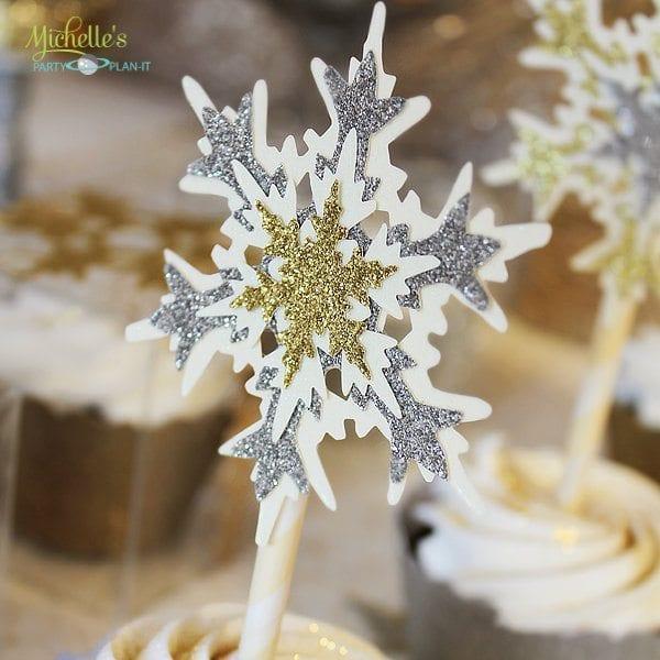 snowflake cupcake topper