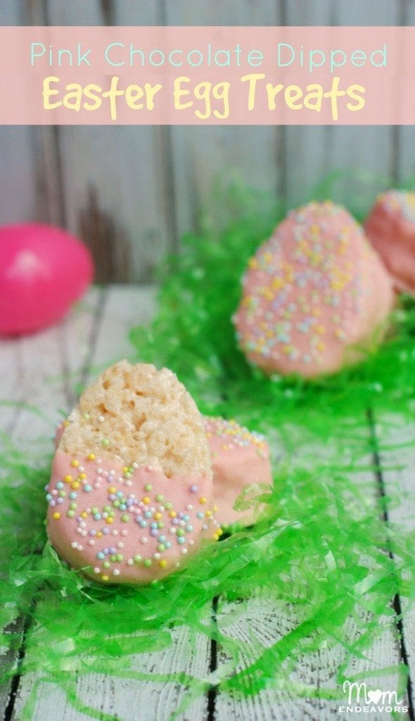 Pink chocolate dipped easter egg rice krispies