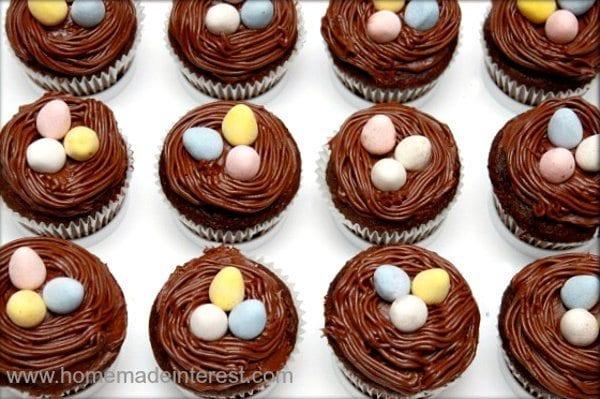 marshmallow cream filled birds nest cupcakes