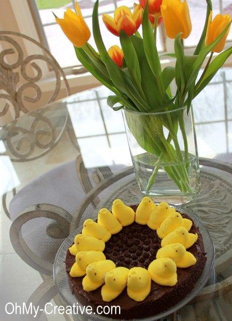 sunflower peep brownies