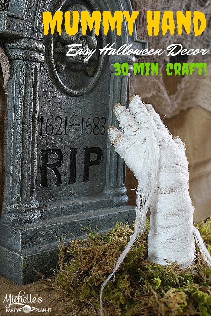 Easy Halloween Decor   DIY Mummy Hand