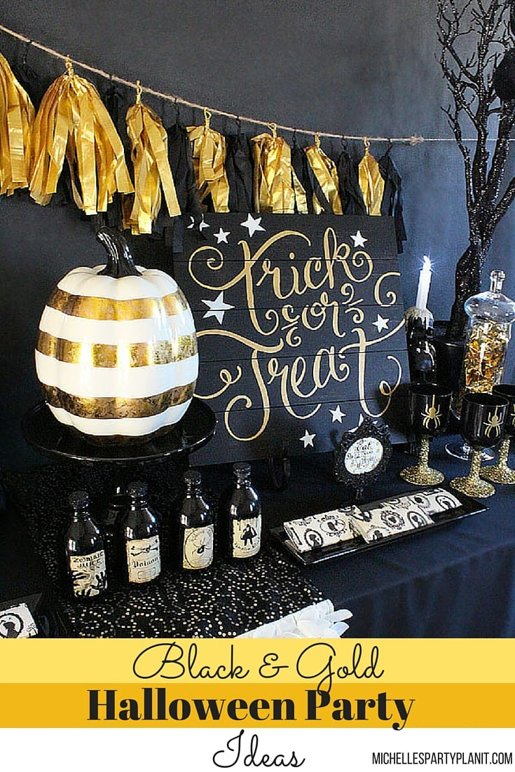 Black and Gold Halloween Party Ideas - Michelle's Party ...