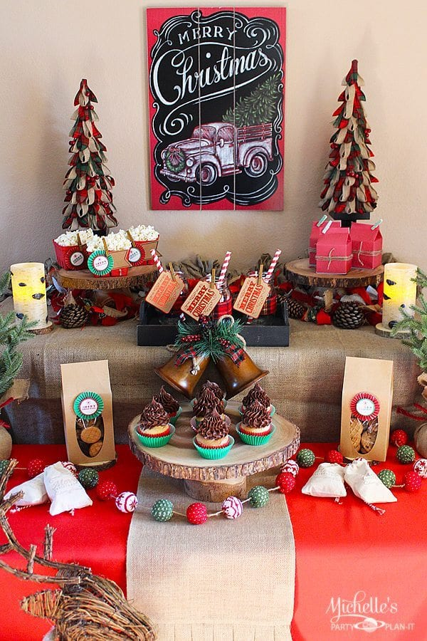 Easy Rustic Christmas Party Decor And Dessert Table Michelle S Party Plan It