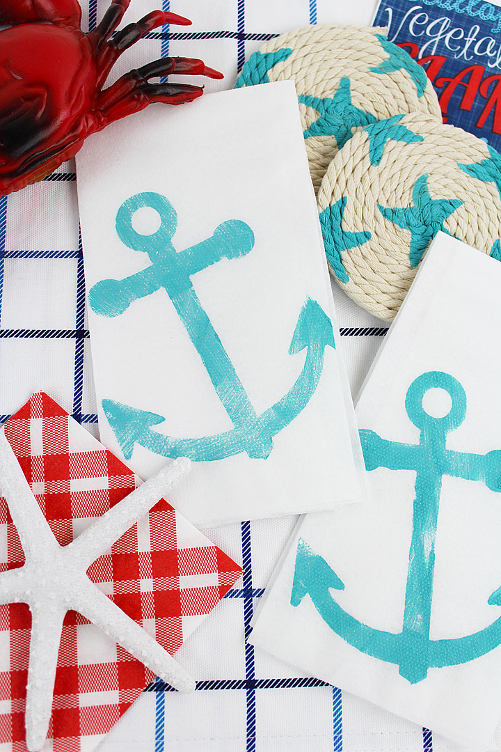 DIY Nautical Napkins and DIY Nautical Coasters