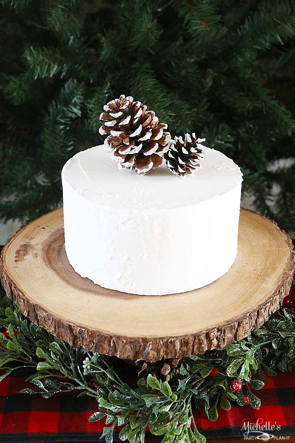 White Cake with Pine Cones