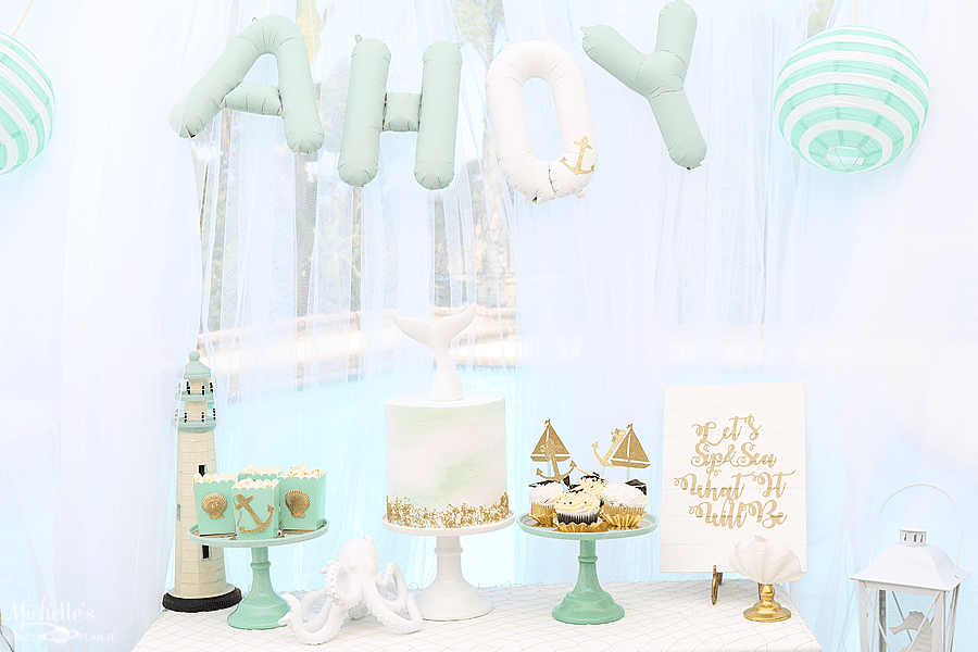 Sip & Sea Gender Reveal Party Cake Table