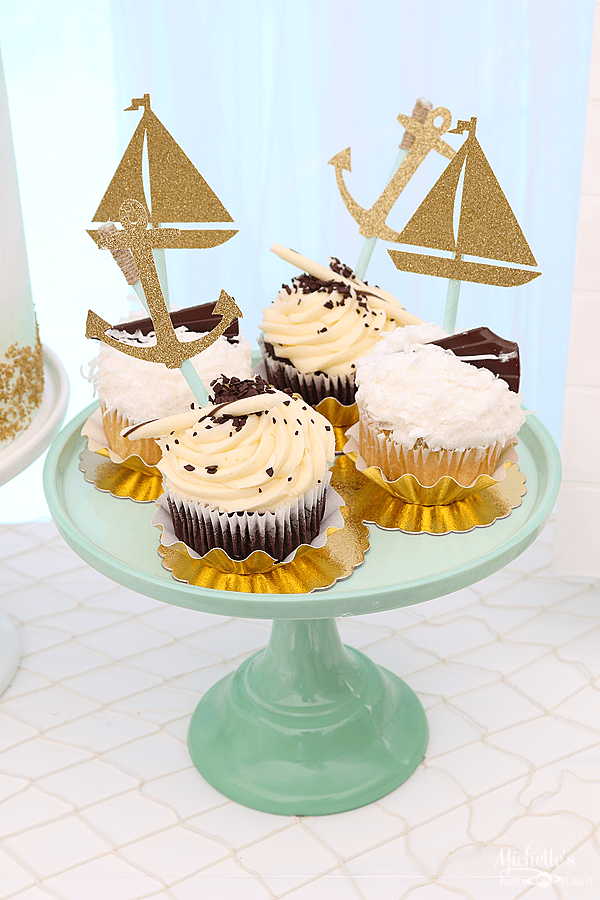 Sip & Sea Gender Reveal Party Cupcake Toppers