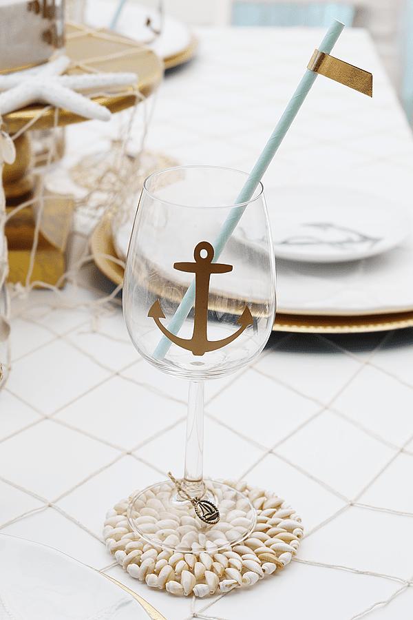 Sip & Sea Gender Reveal Party Wine Glasses