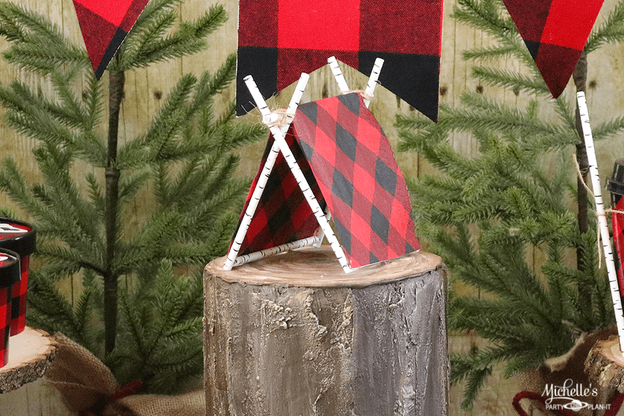Diy Tent Cake Topper Lumberjack Party Ideas Michelle S