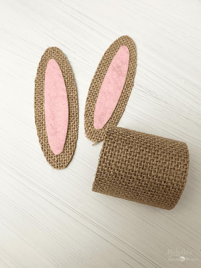 Burlap Bunny Ears Assembled