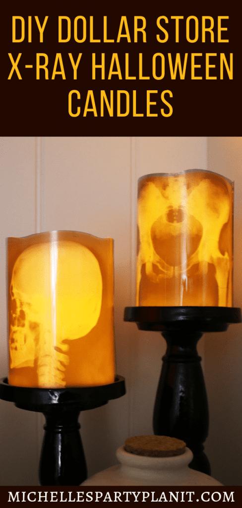 DIY Dollar Store Xray Halloween Candles