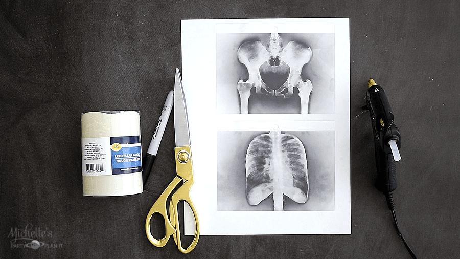 DIY XRAY HALLOWEEN CANDLES supplies