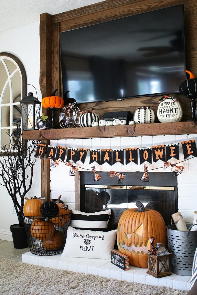 Orange and black halloween mantle