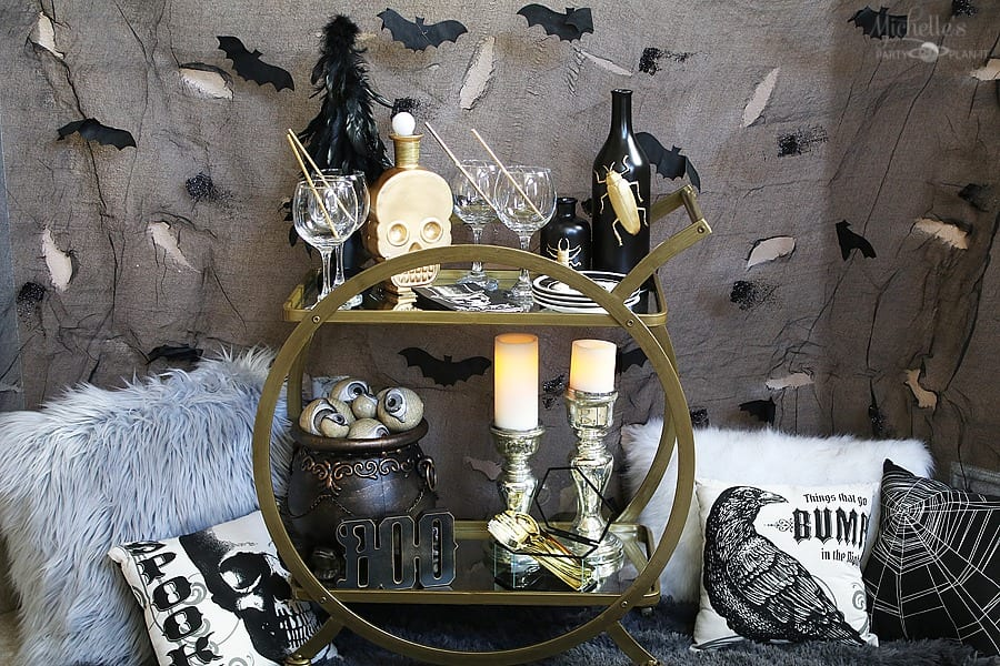 Vintage Halloween Cocktail Party Set up