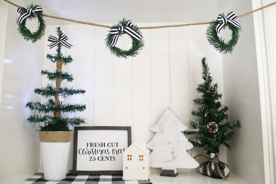 How to make a wreath garland with dollar tree items