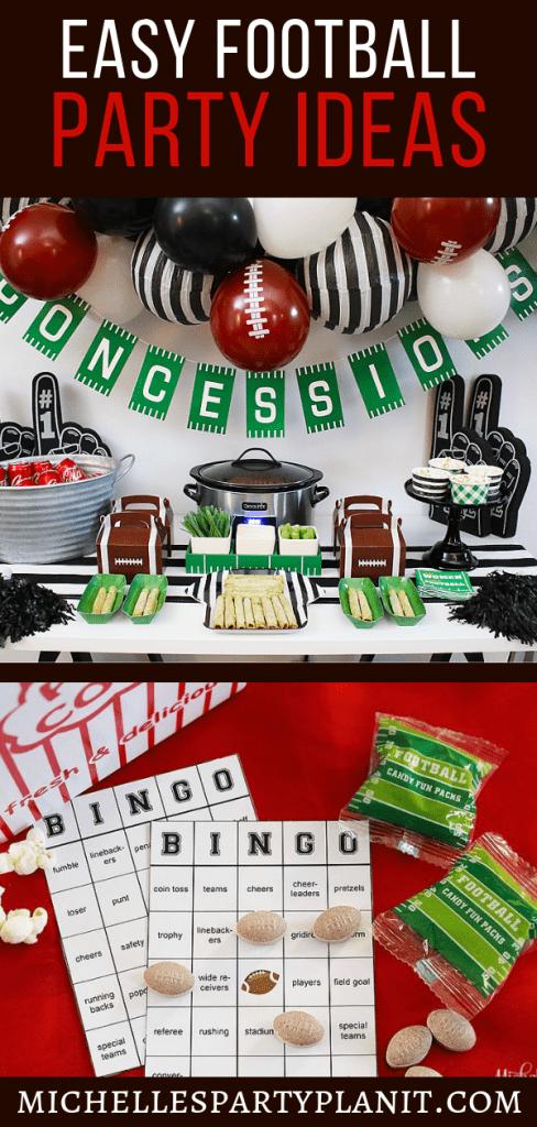 Easy football party ideas and Free Football Bingo Printable