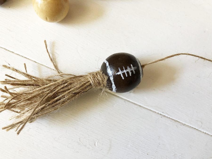 Diy football wood bead garland 3
