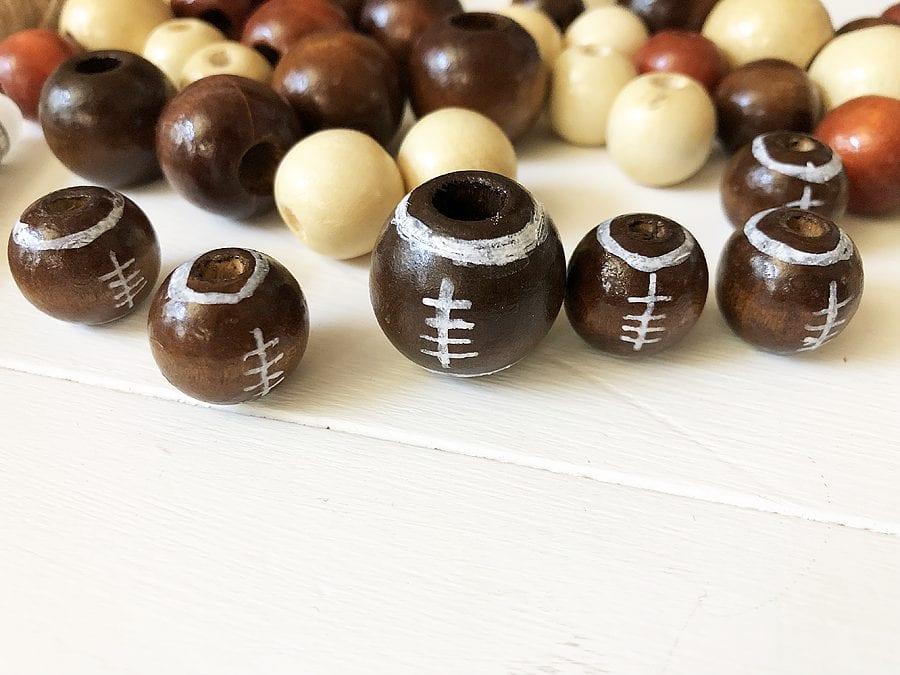 Diy football wood bead garland 8