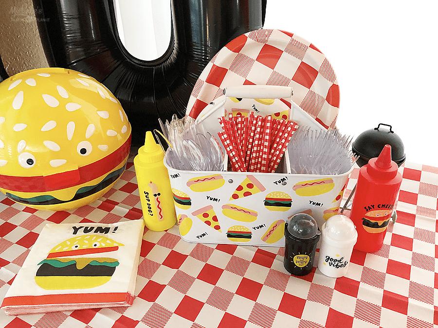 Burger party decorations