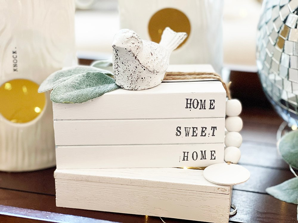 home sweet home book stack close up dollar tree book stack farmhouse craft