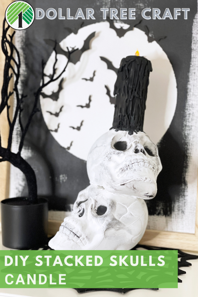 dollar tree stacked skulls candle